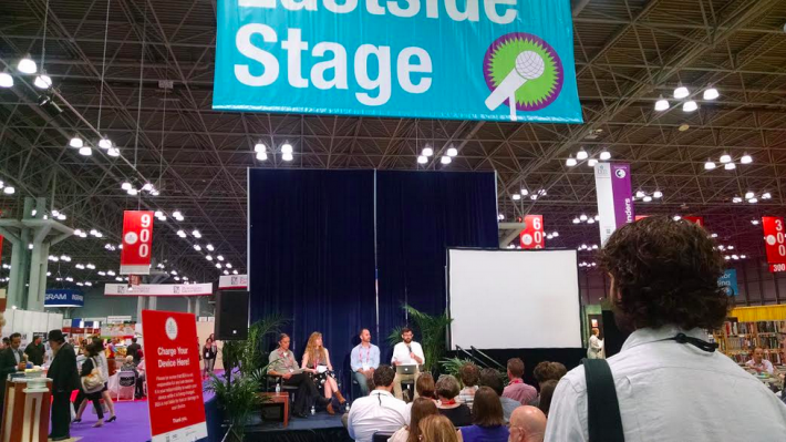 Members of the BTBA 2015 Jury announce the winners at BEA (From left: Jeremy Garber, Powell's Books; Katrine Øgaard Jensen, Asymptote; Chad Post, Open Letter Books; and Bill Martin, translator)