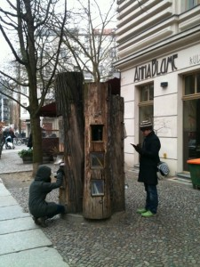 "A ""tree library"" in the street I was staying at in Prenzlauerberg — it was cold in Berlin!"