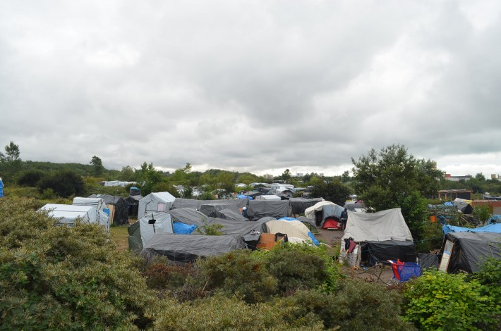 A view across Calais' sprawling migrant camp, called the 'Jungle'