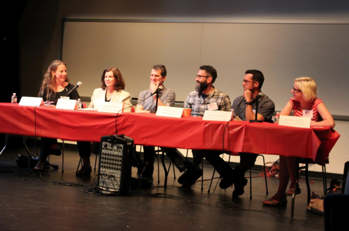 The literary community panel at the Slice conference.