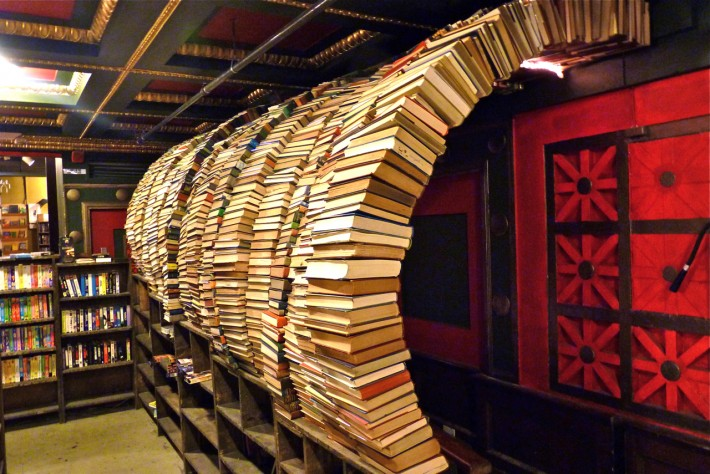 The Last Bookstore in Los Angeles offers a dramatic architectural experience.