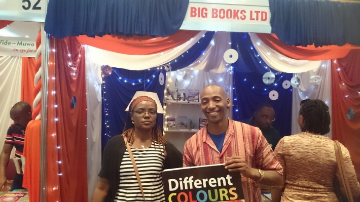 Moraa Gitaa, PEN Kenya Centre vice president, with Alexander Nderitu at the 2015 Nairobi Book Fair