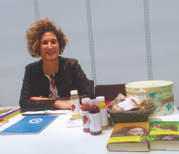 Literary agent Laura Ceccacci at her table in Frankfurt's Literary Agents and Scouts Center