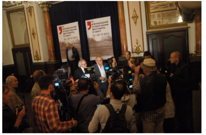 Press gather at the opening of the Odessa Literary Festival