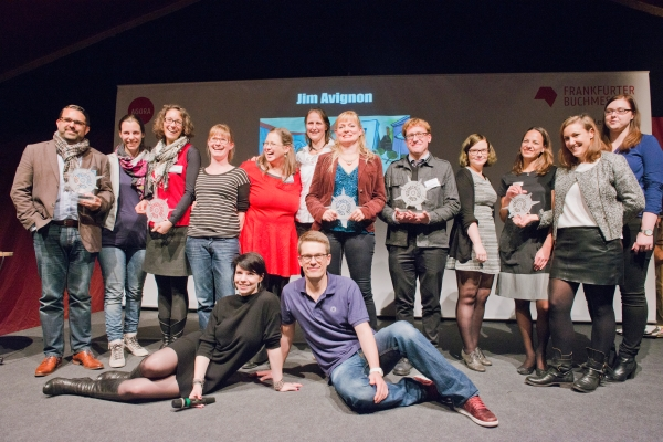 Winners and hosts of Virenschleuderpreis 2015 at Frankfurt Book Fair. (Photo © Peter Hirth / Frankfurter Buchmesse)