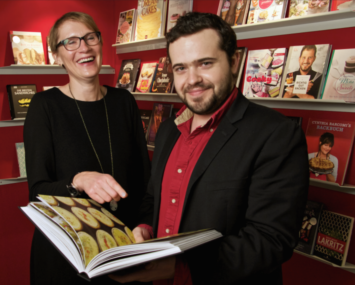 Barbara Roelle (Frankfurt Book Fair) and Edouard Cointreau Jr. (Gourmand) at the 2015 Gourmet Gallery