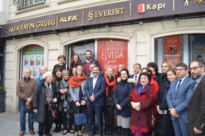 Ahmet Umit, centre, with his foreign publishers and translators outside the offices of his Turkish publisher, Everest