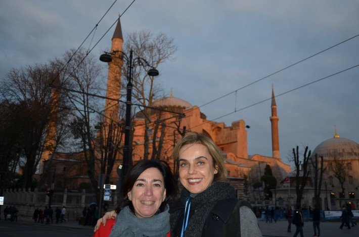 Scout Carmen Pinilla from Berlin, left, with Anna Pataki from Greek publisher Patakis, in front of the famous Hagia Sophia