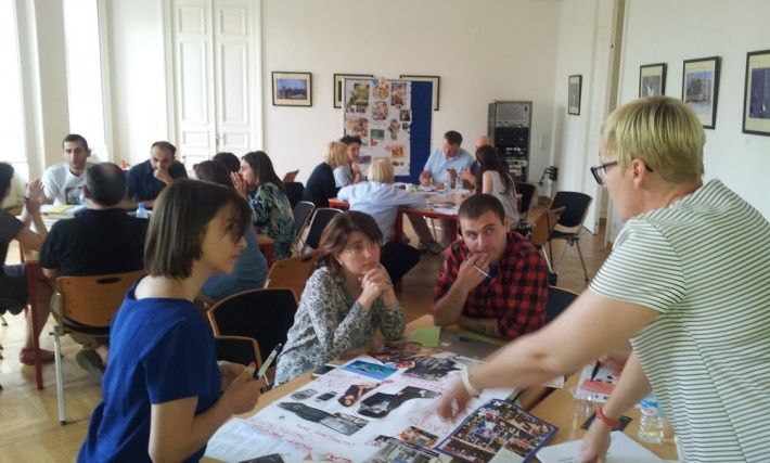 Instructors lead a workshop during the Spotlight on Modern Publishing Training course