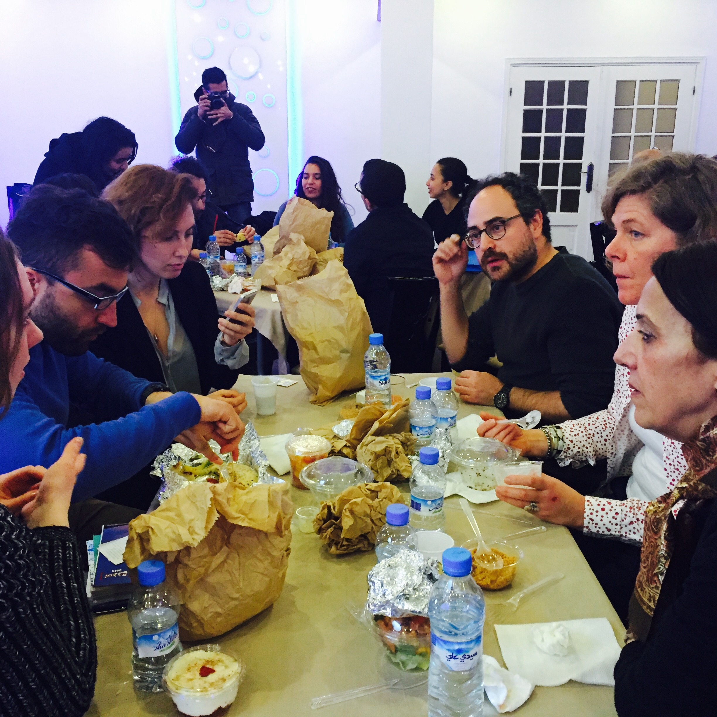 A working lunch at the Casablanca rights hub includes Eduardo Rabasa (Sexto Piso) and Tomaso Biancardi, a scout with Eccles Fisher Associates UK. Image: Olivia Snaije