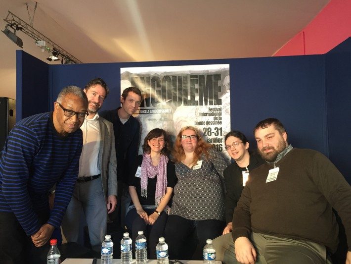 Calvin Reid of Publishers Weekly, left, organized a roundtable event on women in comics at Angoulême. Image: Olivia Snaije