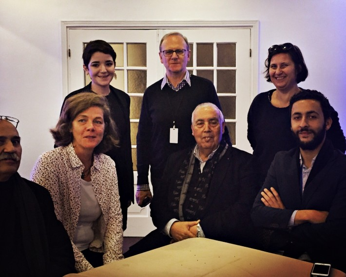 From left at Casablanca's inaugural publishing rights hub: Kacem Basfao of Casablanca University, Laure Pécher, Chayma Soltani, Pierre Astier, Abdelkader Retnani, Odile Nublat of Morocco's French Book Office, and Brahim Khalil Retnani. Image: Olivia Snaije