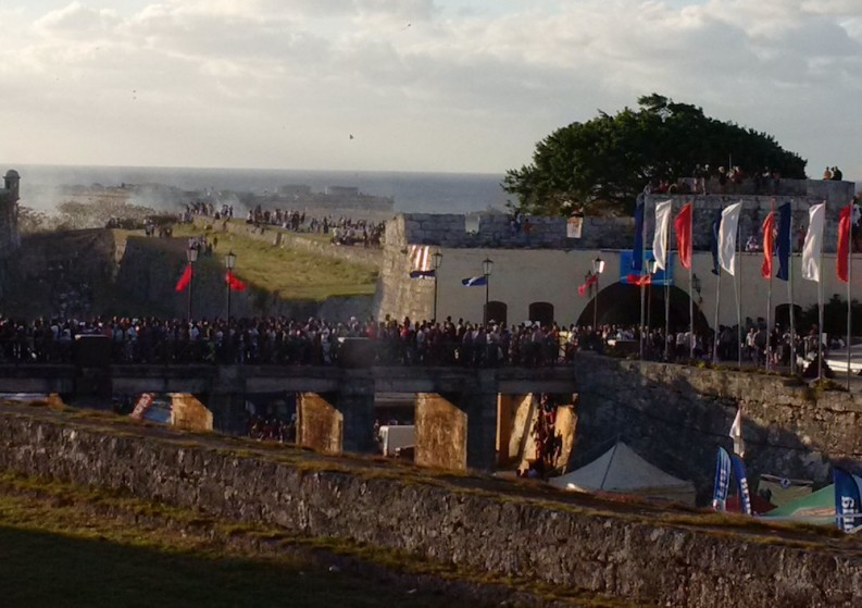 View of the crowds at the Fortaleza de San Carlos de la Cabaña, where the Havana Book Fair takes place