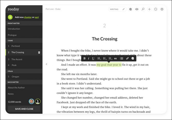 A view of the Reedsy Book Editor's text-processing function with options in the left-hand nav bar