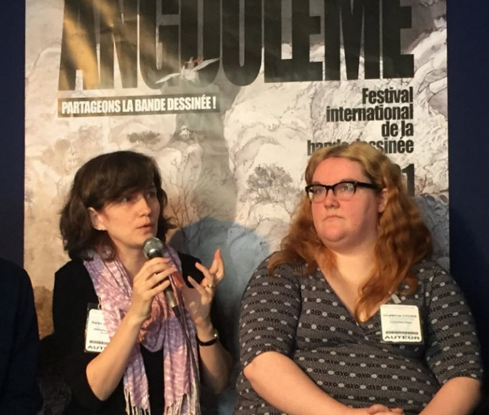 Sarah Howell, left, and Cliodhna Lyons speak at Angoulême. Image: Olivia Snaije