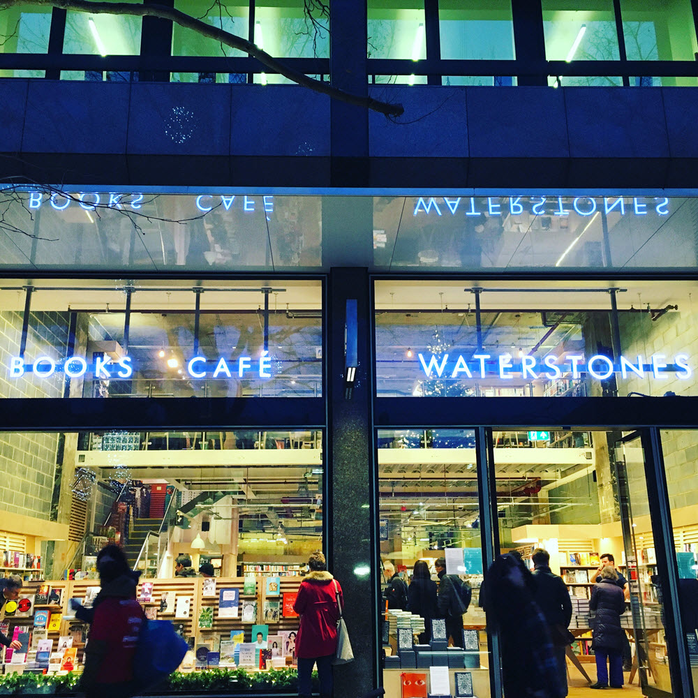 "Waterstones' new Tottenham Court Road store in London features ""social spaces."" Image: Roger Tagholm"