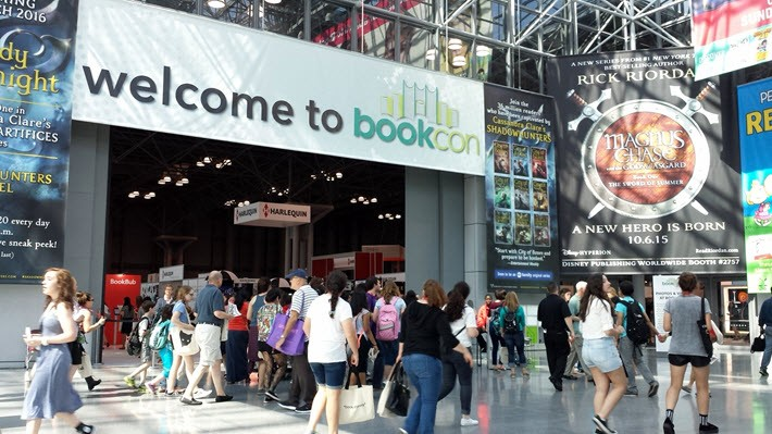 After BookExpo America, the BEA trade show floor is reset for the two-day BookCon. This is the entrance to the con in 2015 at the Javits Center. Image: Porter Anderson