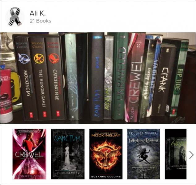 "A reader called ""Ali K"" sent this Shelfie shot of his or her bookshelf to the company to see what e-editions of her print books might be available. Image courtesy Shelfie."