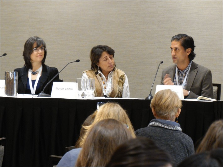 From left, Elise Howard, Marjan Ghara, and Ajay Godhwani were on the DBW Launch Kids panel on startups.