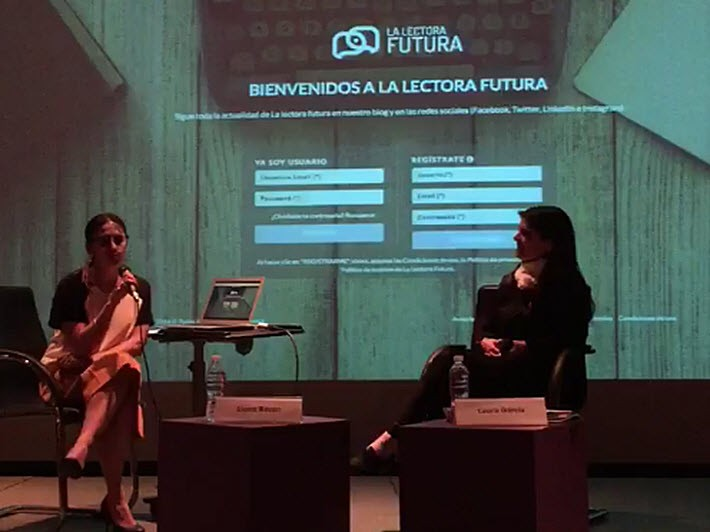 Elena Bazán, left, leads the presentation of La Lectora Futura in Mexico City