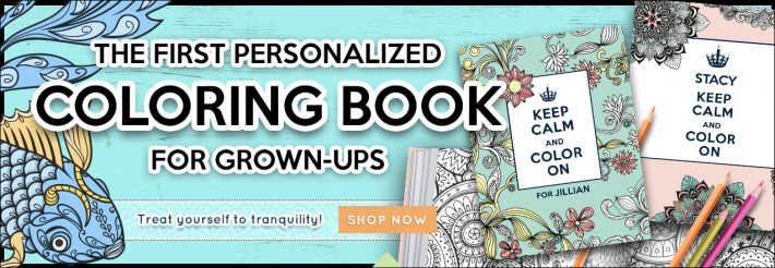 "This is the homepage artwork at PutMeInTheStory.com directing you to ""the first personalized coloring books for grown-ups."""