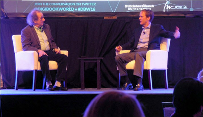 The Idea Logical Company's Mike Shatzkin, left, and Ingram Content's John Ingram talk at Digital Book World on Tuesday