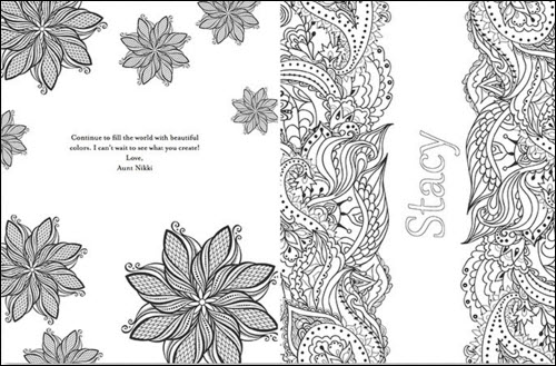 A page from a personalized Put Me in the Story coloring book features the name of the person to whom the book is given.