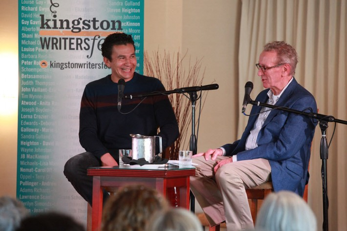 CBC's Wab Kinew, left, and writer-speaker Eric Friesen. Image: Bernard Clark