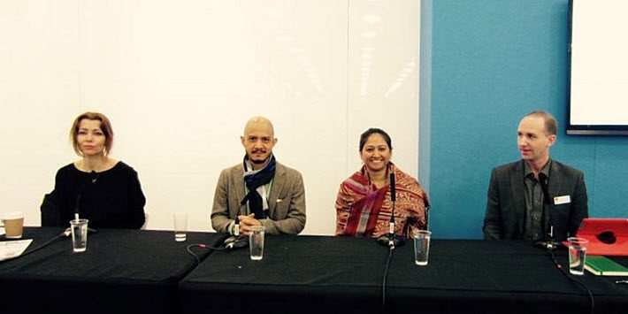 From left, Elif Shafak, Prabda Yoon, Vinutha Mallaya, and Jonathan Morley speak on a panel at London Book Fair's Literary Translation Centre. Image: Olivia Snaije