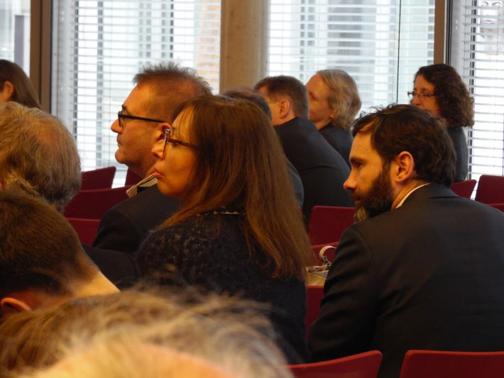 Delegates to Berlin's Publishers' Forum watch a panel debate Thursday (April 28). Image: Porter Anderson