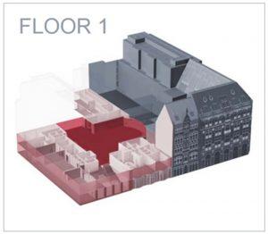 A cutaway plan of DBB Forum Berlin's first floor. Image: dbb-forum.berlin