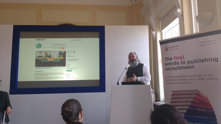 John Mitchinson of Unbound speaks at London Book Fair on crowdfunding. Image: Mark Piesing
