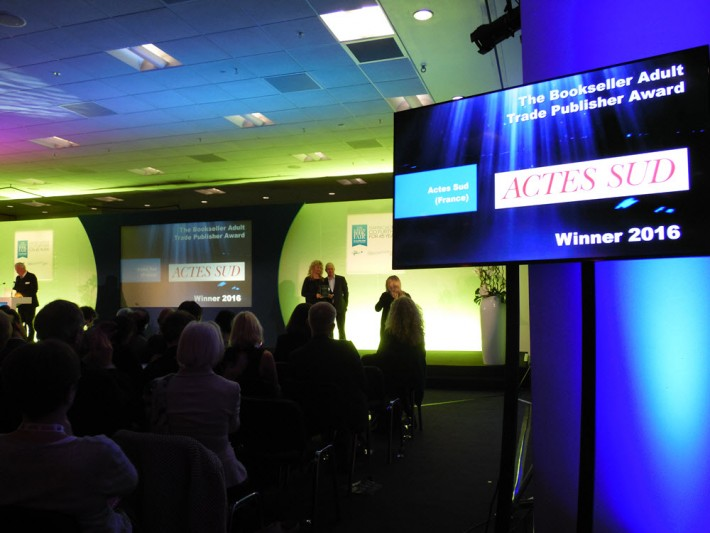 Tuesday evening's London Book Fair International Excllence Awards included The Bookseller-sponsored Adult Trade Publisher Award, conferred on Paris-based Actes Sud. Image: Porter Anderson