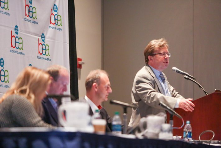 "The May 11 ""Insights, Trends and Developments"" panel on Poland's book market at BookExpo America. Image provided by BEA"