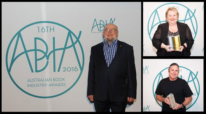 All smiles for the Australian Book Industry Awards, the recipients are blasting Australia's Productivity Commission for its proposed weakening of copyright protection. At left, author and presenter Thomas Keneally, author Magda Szubanski, and author Tim Winton, left. Images: ABIA