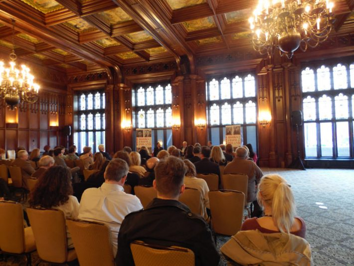 Chad Post of Open Letter hosts an evening at Chicago's beautiful University Club in the Books From Poland Market Forum events at BookExpo America. Image: Porter Anderson
