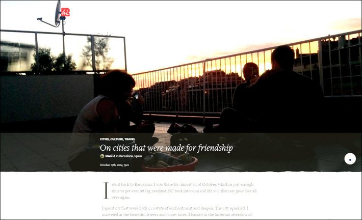 An excerpt from 'On cities that were made for friendship,' a moment posted October 17, 2014, by Dani Z from Barcelona to Hi.co.