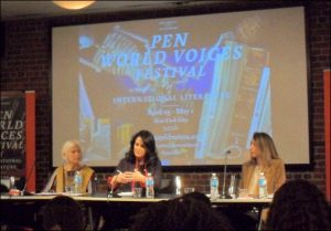 PEN translation panelists, from left, are Sophie Hughes, Lydia Cacho, and Elizabeth Boburg. Image: Lena Prisner