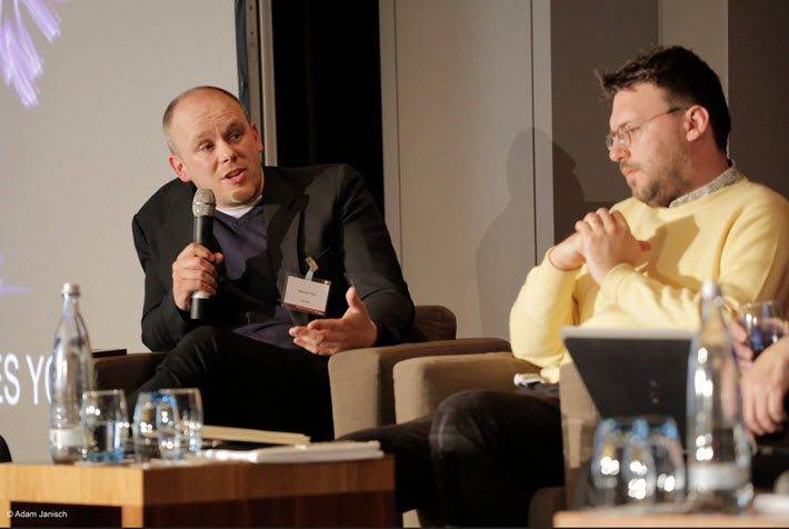 Nathan Hull, left, speaks on a panel with Canelo's Michael Bhaskar at the 2015 Publisher's Forum staged by Klopotek in Berlin. Image: Adam Janisch