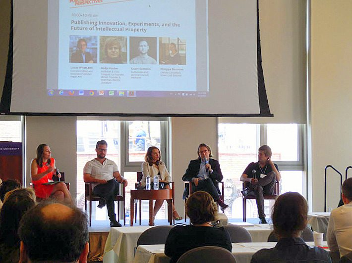 The conference's innovation panel included, from left, Erin L. Cox, Adam Gomolin, Philippa Donovan, Lucas Wittmann, and Andy Hunter. Image: Porter Anderson