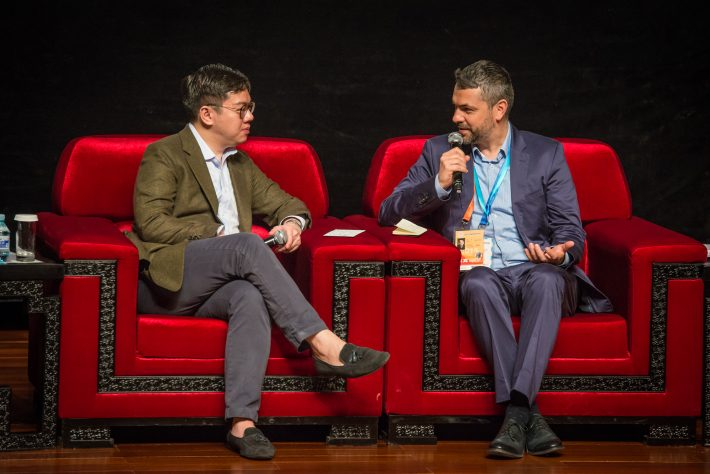 """Frankfurt Book Fair Vice President Holger Volland, right, has coined the phrase """"Hyper IP"""" for the energized content sometimes created by cross-disciplinary development. Image: StoryDrive Asia 2016"""