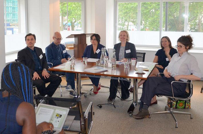 Panelists at London's 'Brexit Breakfast,' from left: Allesandro Gallenzi, Neill Morrison, Shireen Peermohamad, Benedicte Page, Susie Winter, and Lizzy Kremer. Image: Roger Tagholm