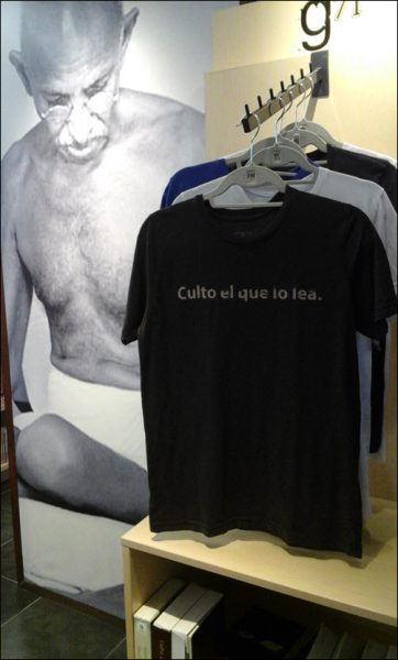 Inside Gandhi, diversified merchandising includes T-shirts as well as books. Image: Adam Critchley