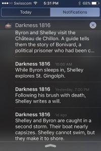 Notifications from 'Summer of Darkness.' Note mention of a boating accident in which Byron and Shelley nearly capsize a boat. Shelley would drown six yeas later on the coast of Italy, aged 29. Image: Digital Scenographic