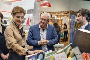 Maryna Anatolyivna Poroshenko (wife of Ukrainian President Petro Poroshenko) with Tobias Voss (Vice President of International Markets, Frankfurt Book Fair) visit Book Arsenal 2015 in Kiev, Ukraine