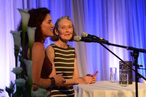 Canadian poet and translator Anne Carson, right, is introduced at the festival. Image: JS Tennant