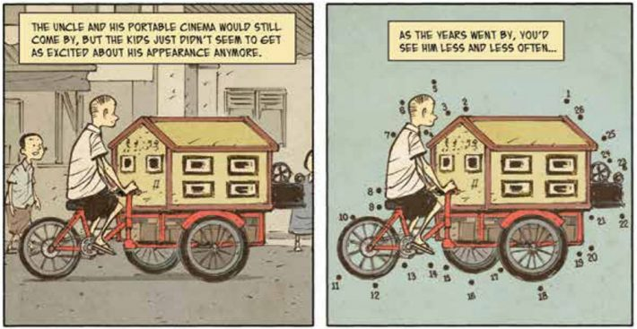 An excerpt from a page of the Singapore Literature Award-winning 'The Art of Charlie Chan Hock Chye' by Sonny Liew. Image used by permission of Epigram Books, all rights reserved.