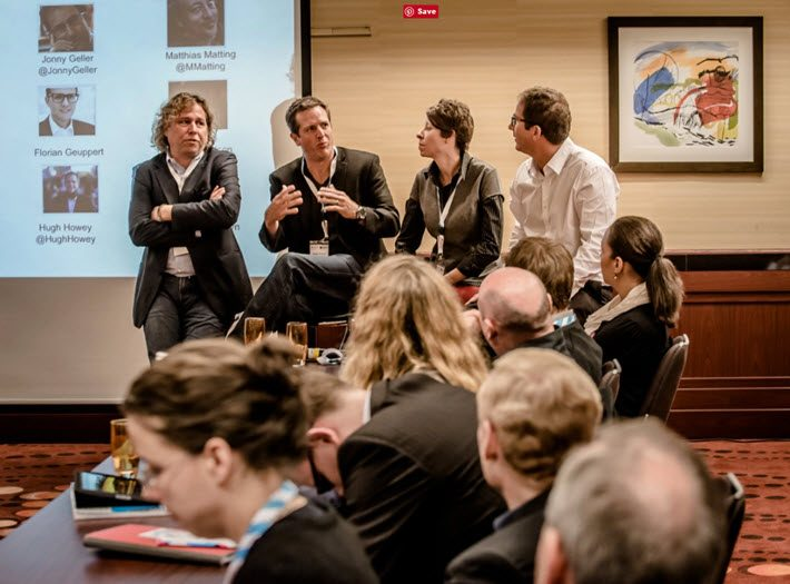 From left, Jon Fine, Hugh Howey, Kristin Nelson, and Jonny Geller in a town hall session at Frankfurt Book Fair 2013. Image: Frankfurt Book Fair, Bernd Hartung