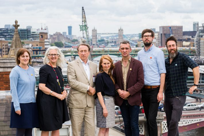 From left, Ambient Literature project personnel at the launch are: Amy Spencer, UWE; Kate Pullinger, Bath Spa University; Jon Dovey, UWE; Emma Whittaker, UWE; Tom Abba, UWE; Michael Marcinkowski, Bath Spa University; Matt Hayley, Birmingham University. Image: Provided by Speed Communications