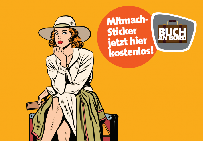"German booksellers have received window signs to promote the ""Buch an Bord"" campaign from Condor and Vorsicht! Buch"